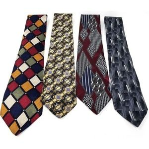 Lot of 4 mens silk ties geometric patterns